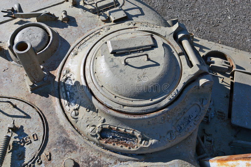 Tower of the old tank. Hatch on the tower of the old tank stock image
