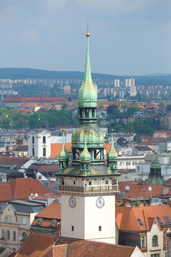 Tower of the old town hall closeup. Brno. Czech Republic royalty free stock photos