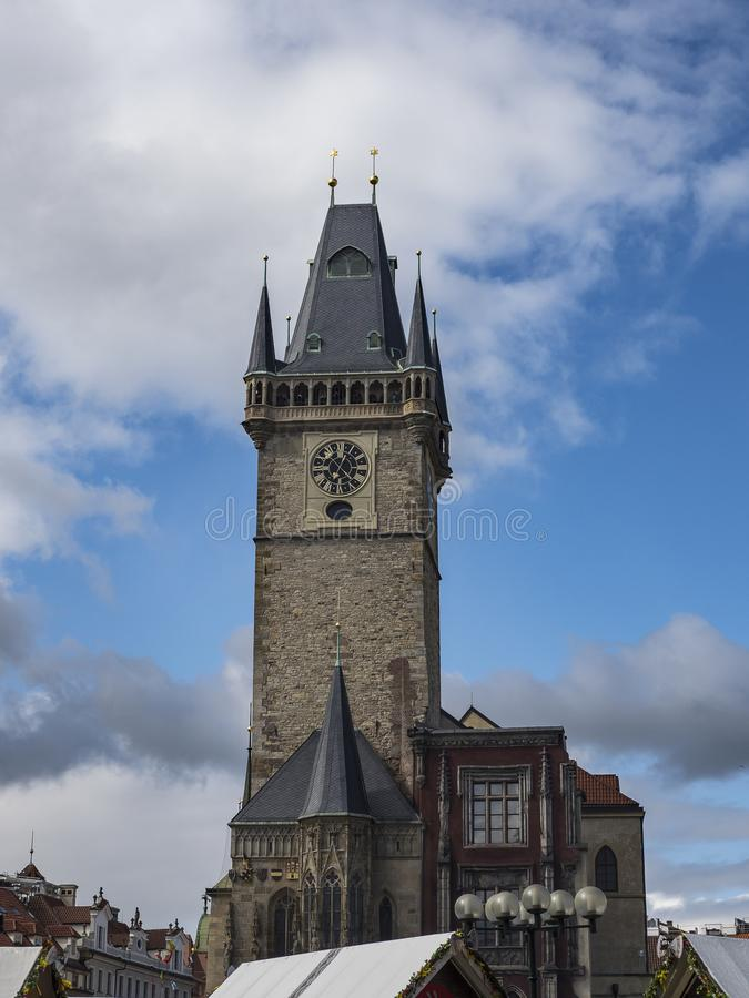 Tower of the old town hall in Prague royalty free stock image