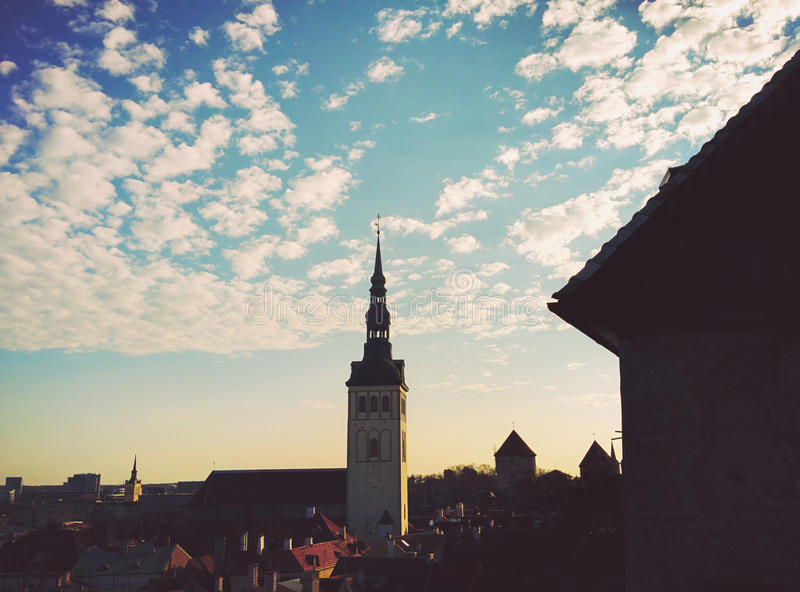 Tower in old Town. In old Tallinn view to old houses and big tower royalty free stock photos