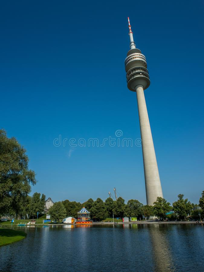 The tower in Olympiapark of Munich stock image