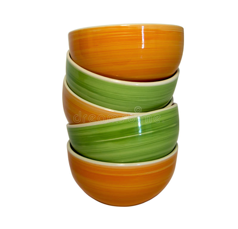 Small ceramic bowl put one on another with an interesting circular pattern  sc 1 st  Dreamstime.com & A Tower Of Orange And Green Ceramic Bowls Stock Image - Image of ...