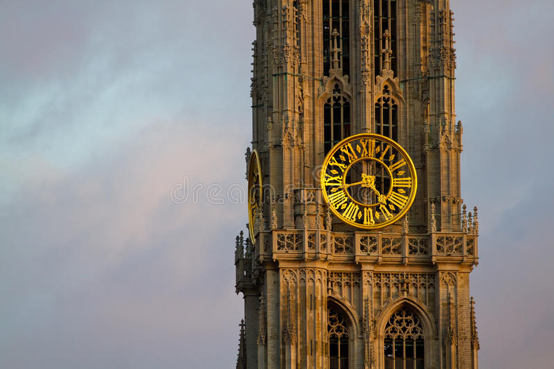 Tower of Our Lady Church in Antwerp. stock photo