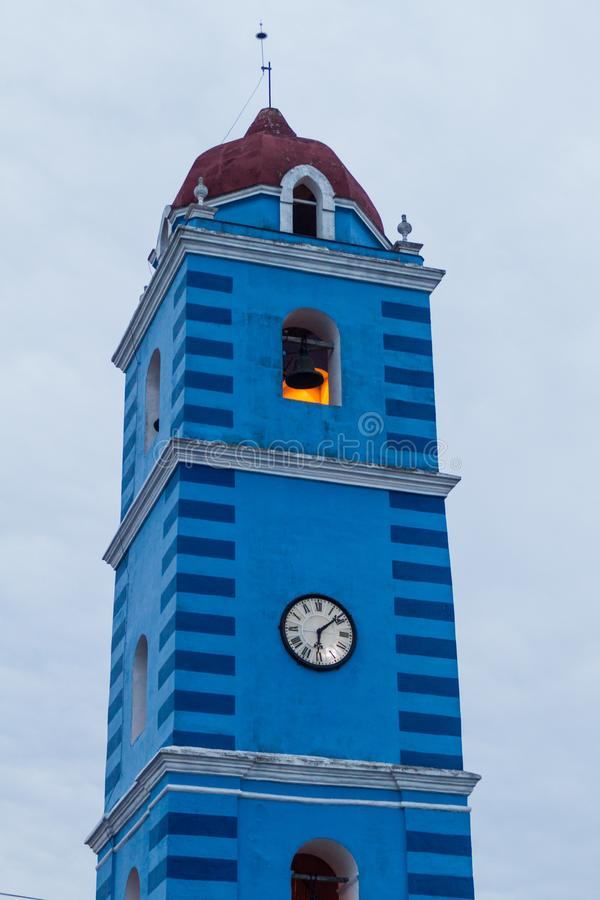 Tower of the Parroquial Mayor church in Sancti Spiritus, Cuba. Cuba`s oldest churc. H royalty free stock photography