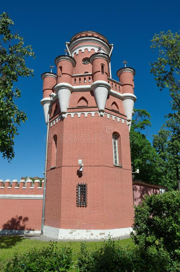 The tower of Petrovsky travel Palace in Moscow on the Leningradsky prospect, Russia royalty free stock photo