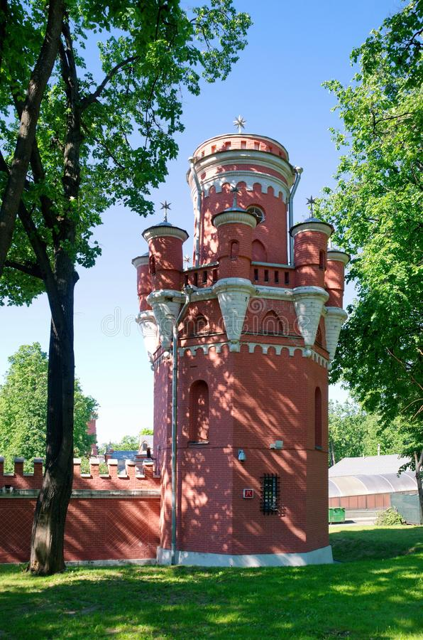 The tower of Petrovsky travel Palace in Moscow, Russia. The tower of Petrovsky travel Palace in Moscow on the Leningradsky prospect, Russia. It was built in 1776 stock image