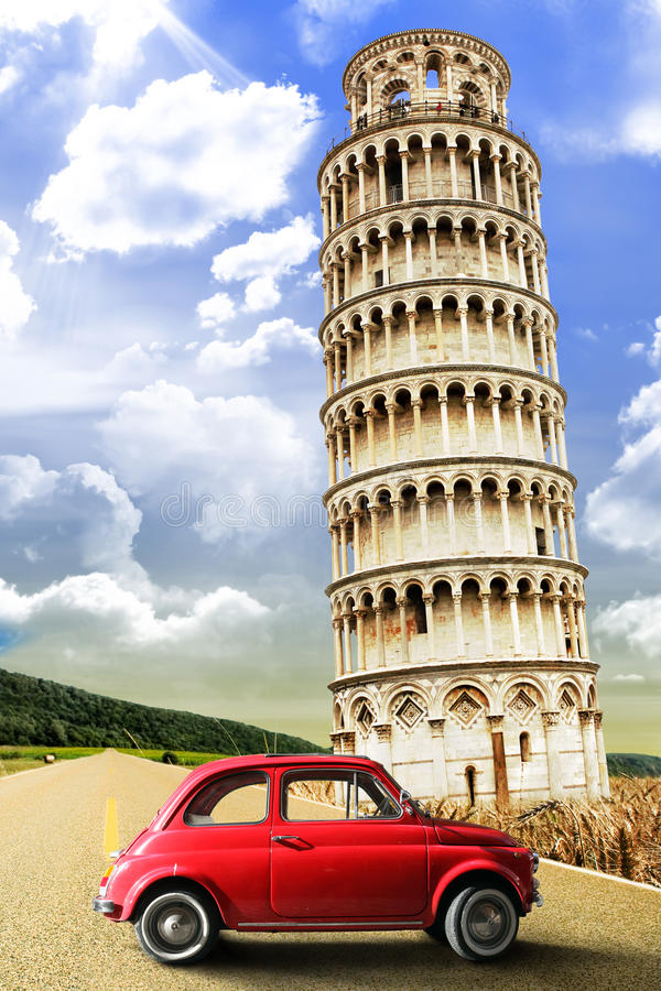 Tower of Pisa and the old vintage red car. Italy retrò scene stock images