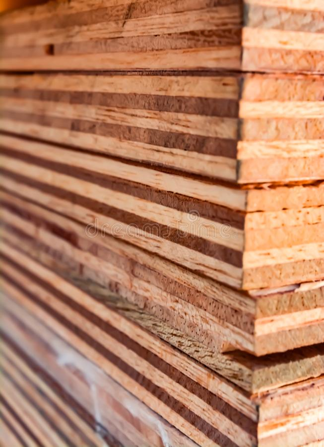 Tower of plywood. Plywood boards stored on top of each other forming a tower royalty free stock photography