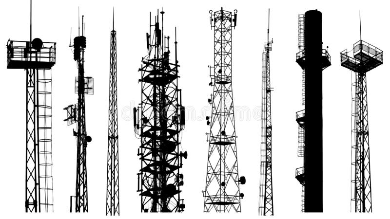 Tower radio antenna silhouettes isolated on white background vector illustration
