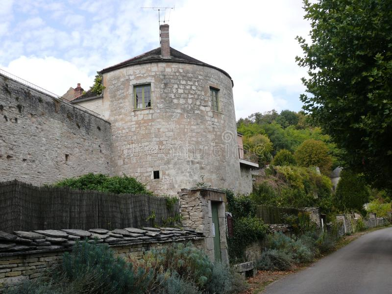 Tower and ramparts of the medieval village of Noyers sur Serein in the Yonne. France stock images