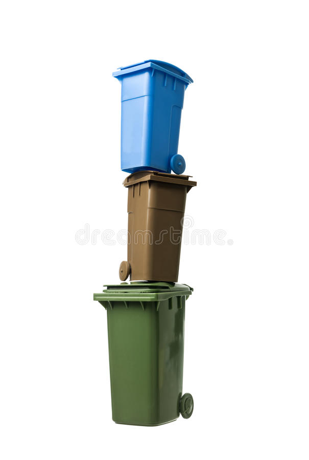 Tower of Recycling Bins stock photo