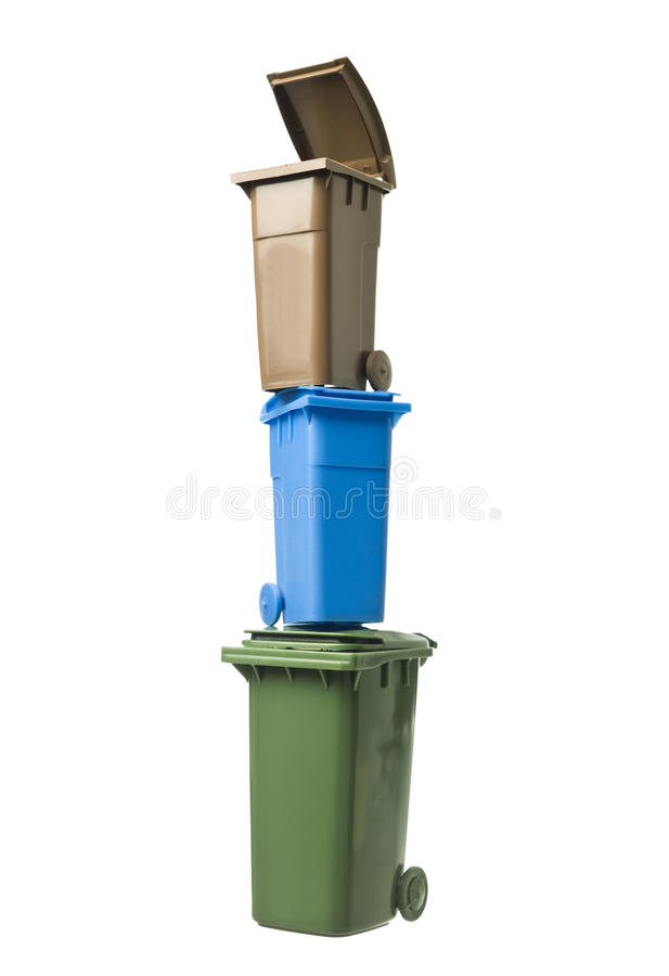 Tower of Recycling Bins stock image