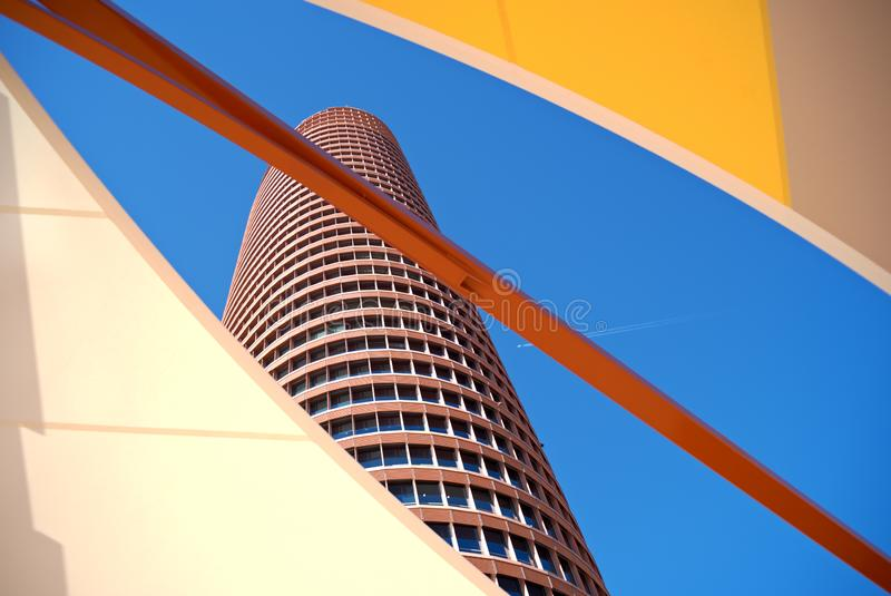 Tower and red diagonal stock photography