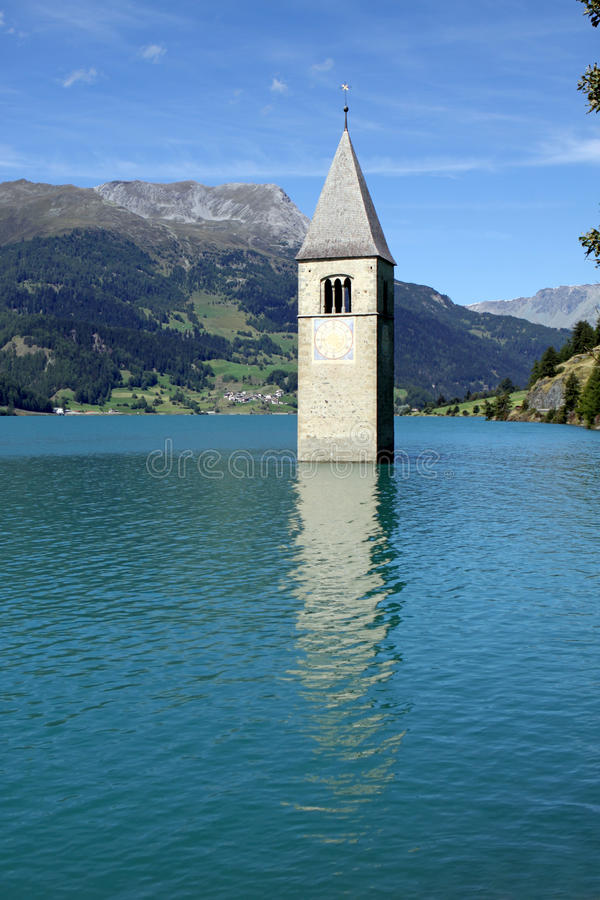Download Tower of Resia Lake Church stock photo. Image of stone - 21174706