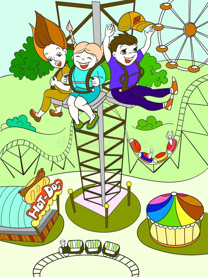 Thrill from a free fall from this tower. Color book black lines on a white background. Tower ride, tallest amusement attraction. Thrill from a free fall from stock illustration