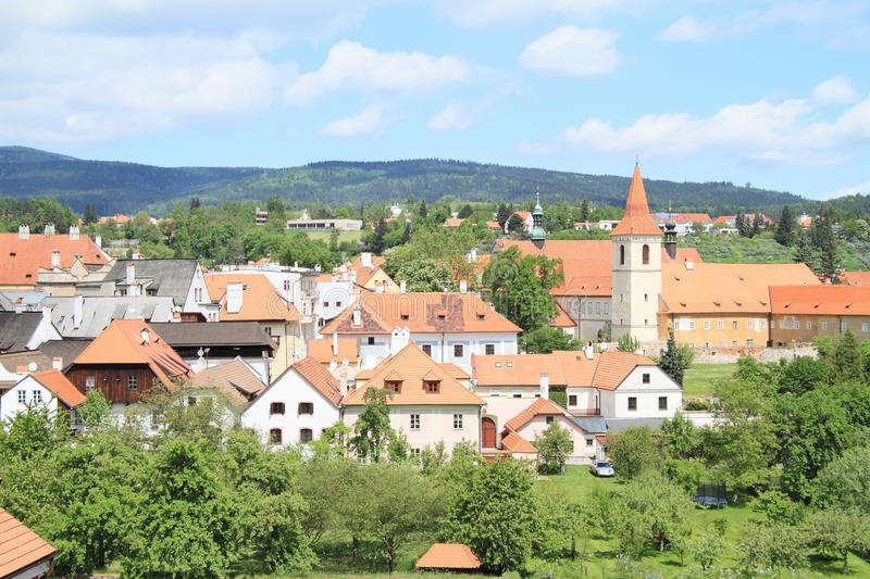 Tower and roofs in Cesky Krumlov royalty free stock image