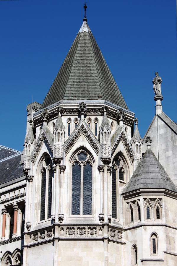 Tower of Royal Court of Justice, London stock photo