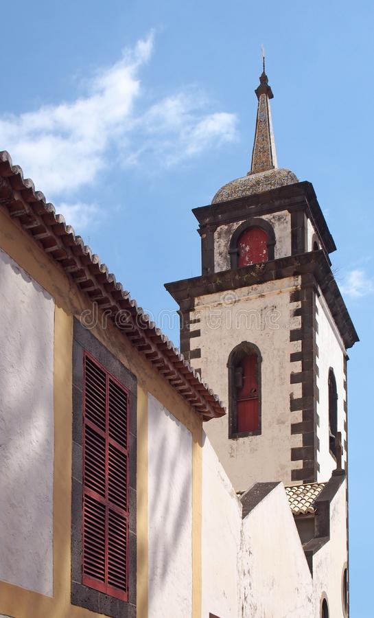 Tower of São Pedro church in funchal a historic 17th century building in madeira notable for the colored tiles on the spire. The tower of São Pedro church royalty free stock photo