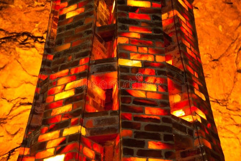 Tower of salt tiles in Khewra saltmines ( Pakistan). Table tea pillar column Tower of salt tiles in Khewra saltmines ( Pakistan). Background royalty free stock image
