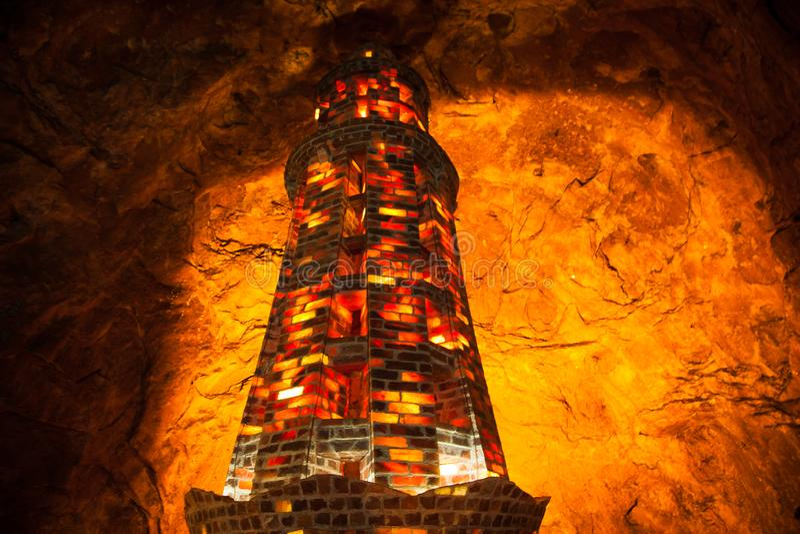 Tower of salt tiles in Khewra saltmines ( Pakistan). Table tea pillar column Tower of salt tiles in Khewra saltmines ( Pakistan). Background royalty free stock photo