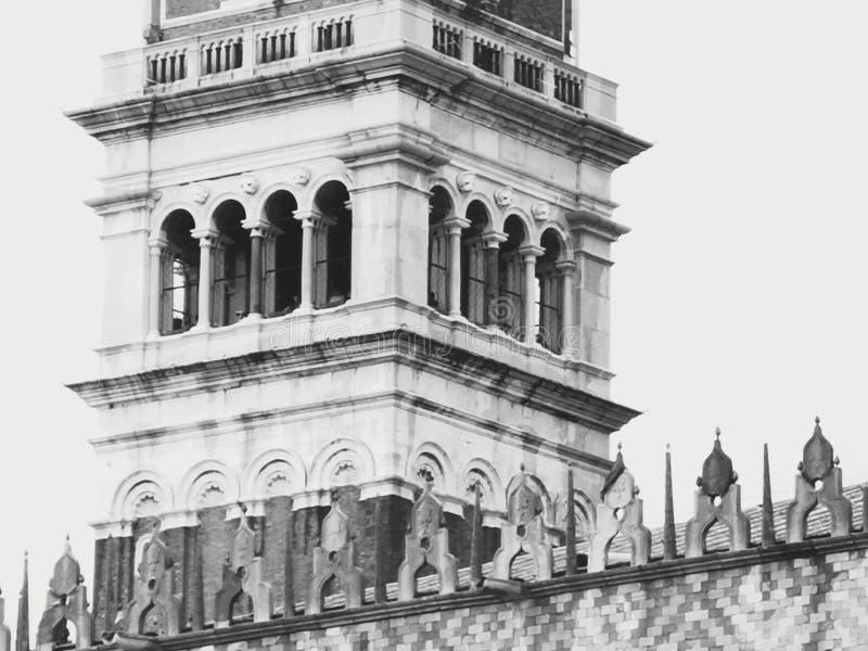 The tower of San Marco. Clocks, venice, zoom, p30, sanmarcosquare, ducale, campanile, lagoon, greywhite stock photo