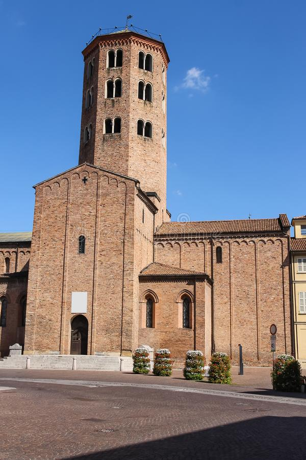 Tower of Sant Antonino Basilica in Piacenza stock images