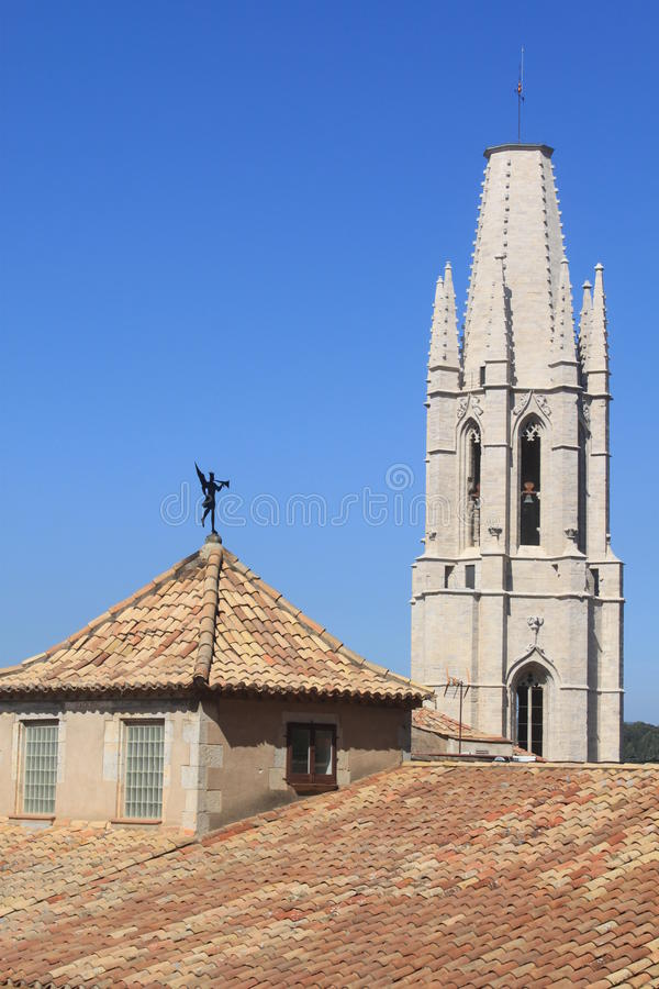Download Tower of Sant Feliu church stock photo. Image of summer - 26844294