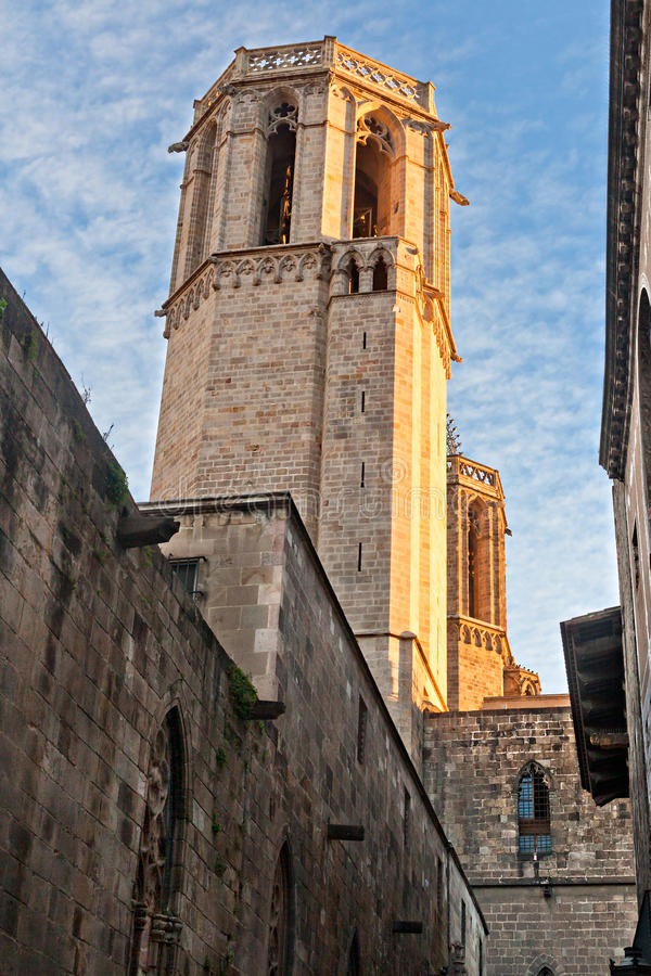 Tower of Santa Eulalia Cathedral in Barcelona royalty free stock image