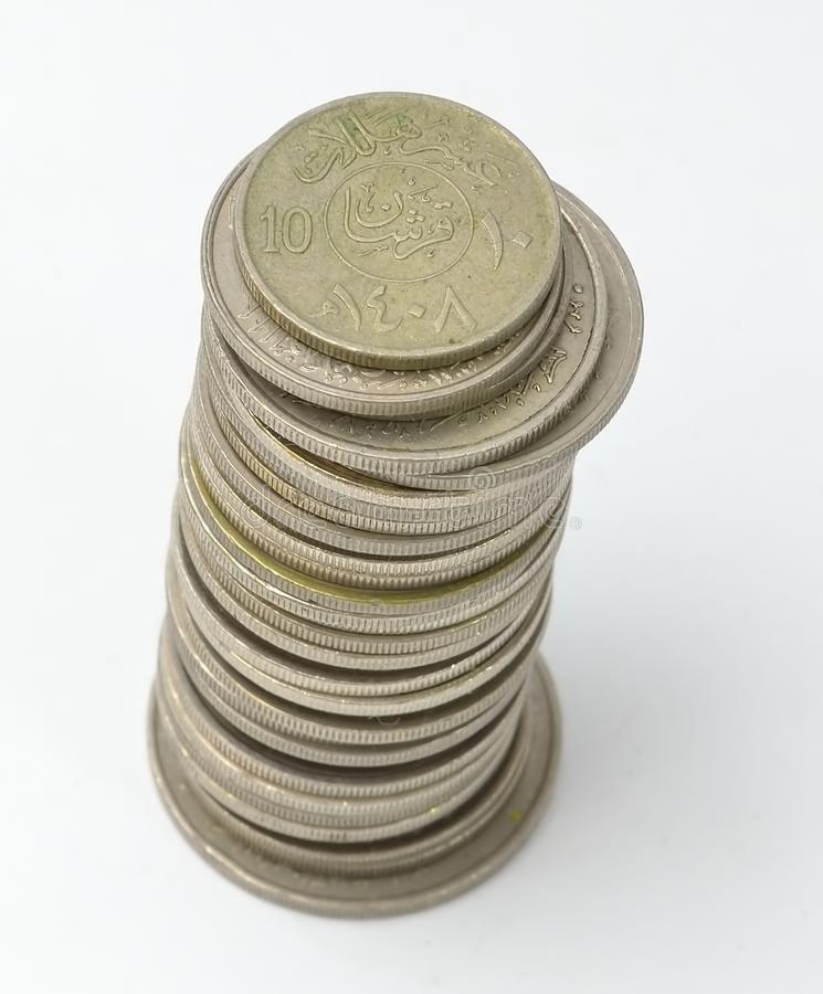 Tower of Saudi Coins Currency stock photo