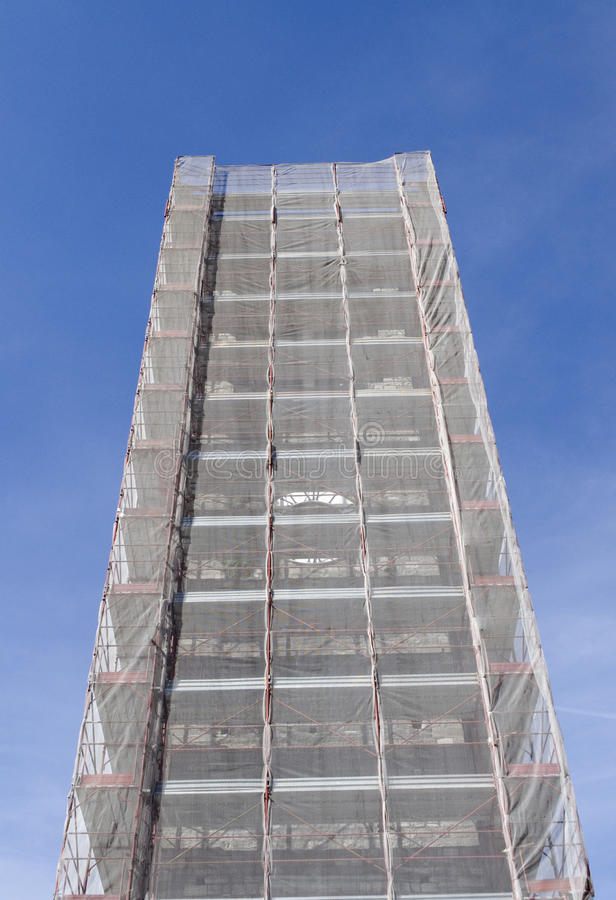 Tower In Scaffolding Stock Image