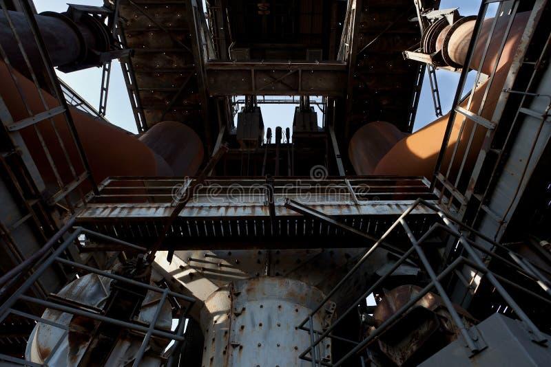 Tower iron steel furnace factory Landschaftspark, Duisburg, Germany stock image