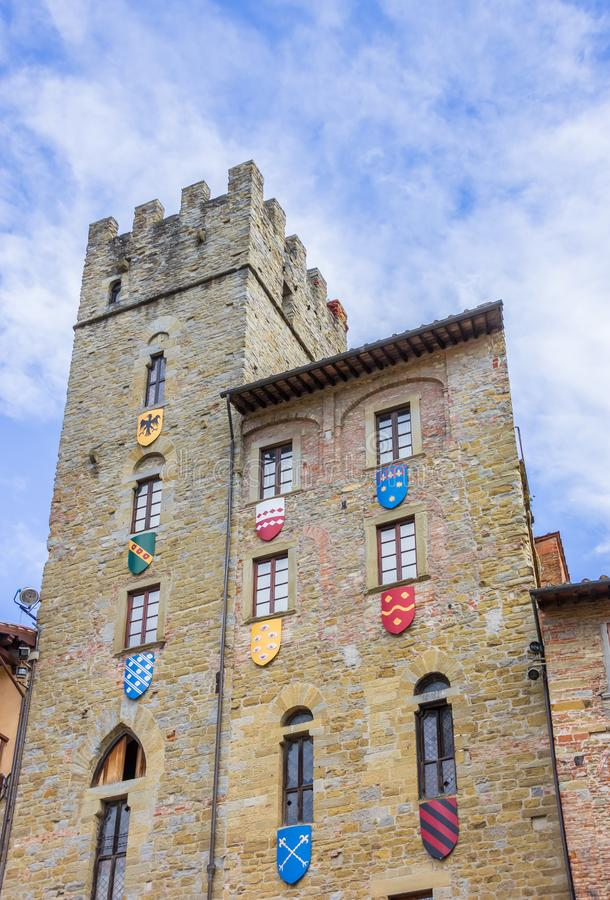 Download Tower With Shields At The Piazza Grande Of Arezzo Stock Photo    Image Of Landmark