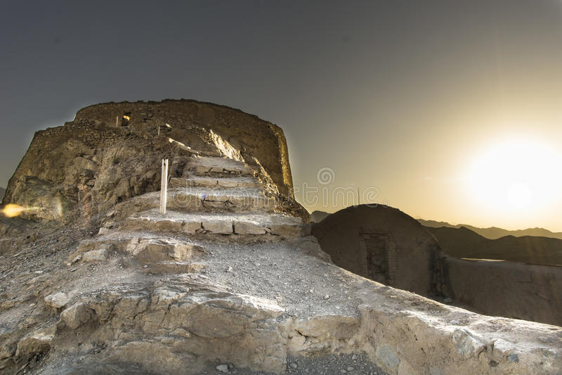Tower of silence. Ancient buildings constructed by the zoroastrians around Shiraz area royalty free stock photography