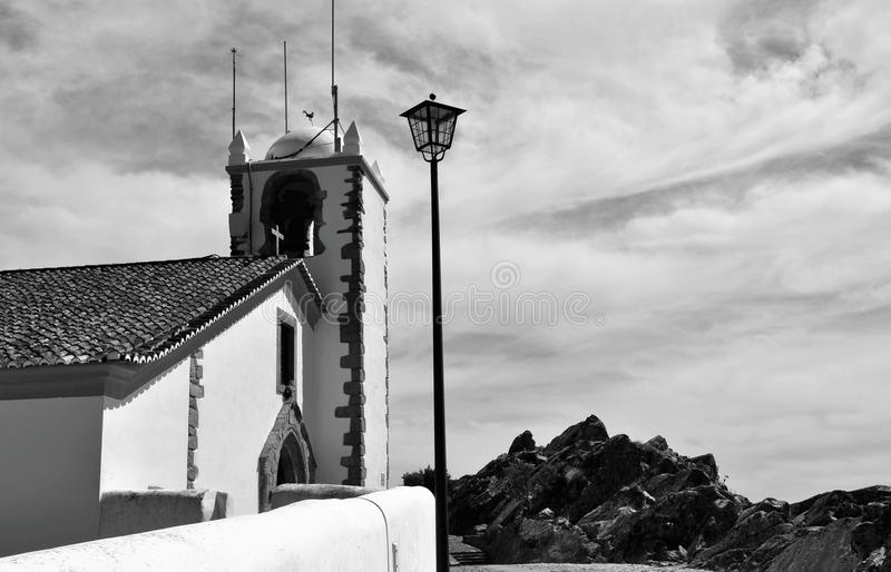 The tower and the sky - Holy Spirit Church in black and white stock image