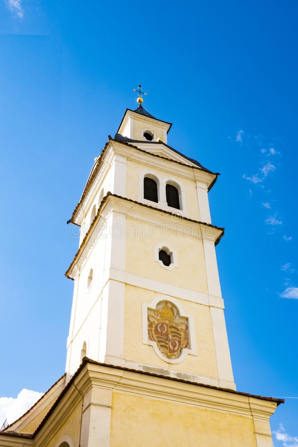 Tower of St Erhard church Brixen Bressanone, Italy. Against blue sky royalty free stock images