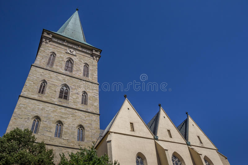 Tower of the St. Katharinen church in Osnabruck. Germany stock photography