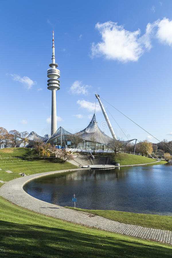 Tower of stadium of the Olympiapark in Munich. MUNICH, GERMANY - NOV 28, 2016: Tower of stadium of the Olympiapark in Munich, Germany, is an Olympic Park which stock photos