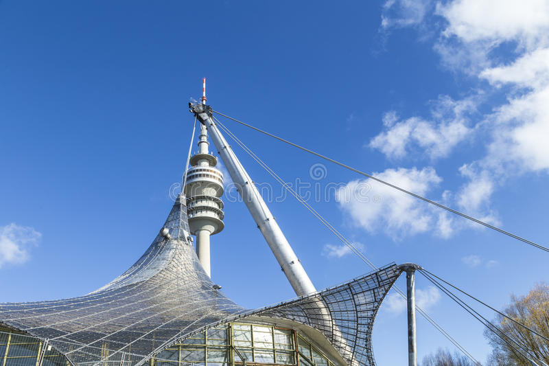 Tower of stadium of the Olympiapark in Munich royalty free stock photo