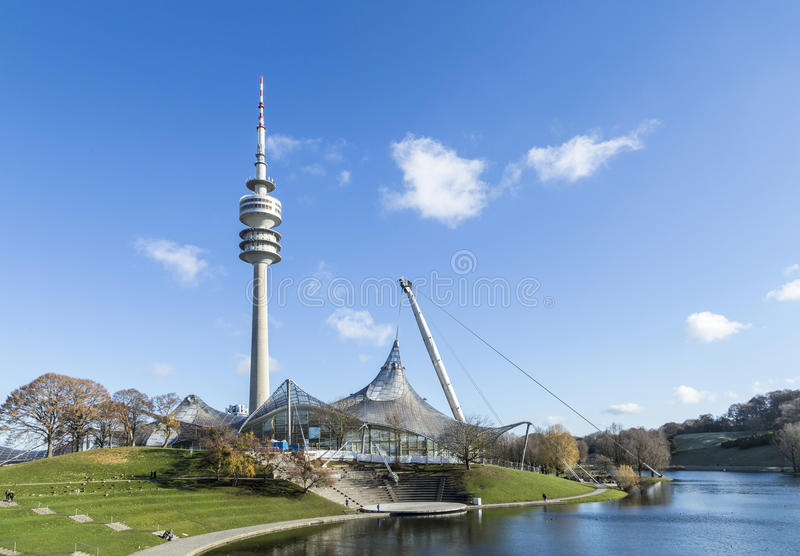 Tower of stadium of the Olympiapark in Munich. MUNICH, GERMANY - NOV 28, 2016: Tower of stadium of the Olympiapark in Munich, Germany, is an Olympic Park which royalty free stock images