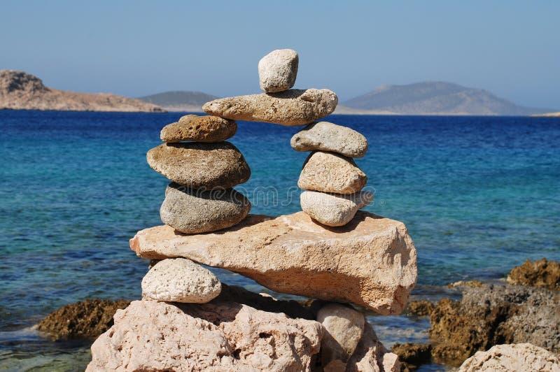 Tower of stones, Halki island stock photos