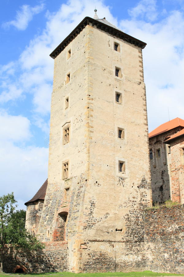 Tower of Svihov castle. Tower of medieval water castle Svihov (Czech Republic stock images