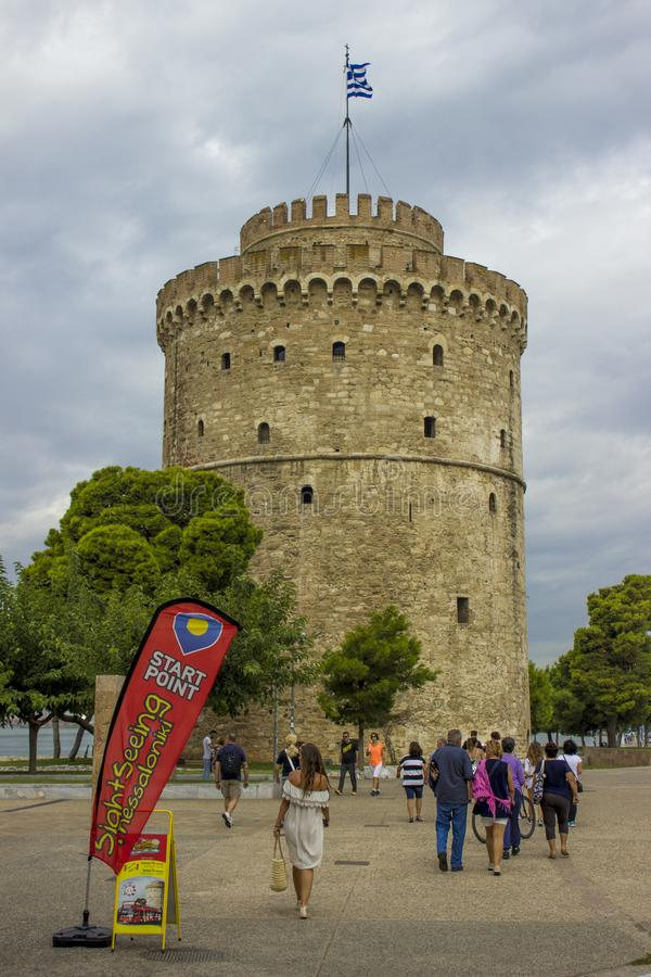 Tower in Thessaloniki stock images