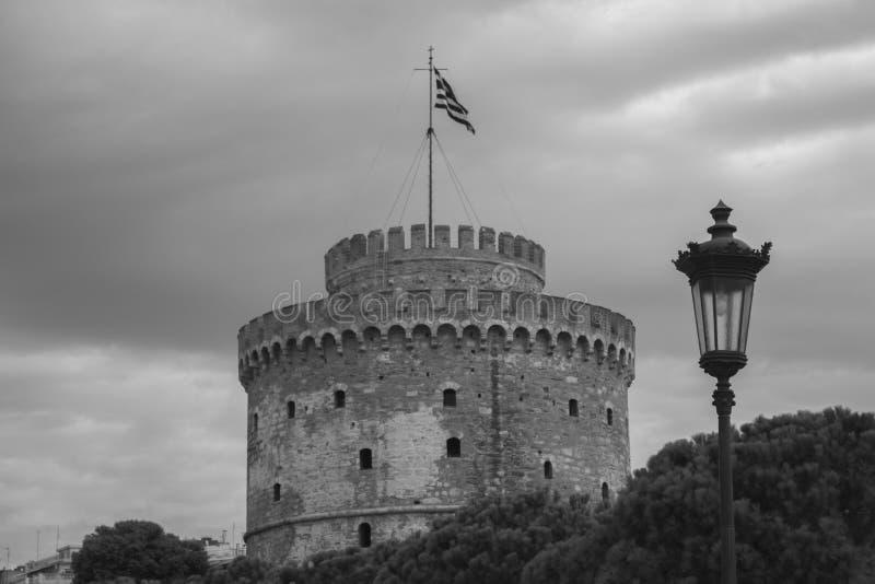 Tower in Thessaloniki black&white royalty free stock photos