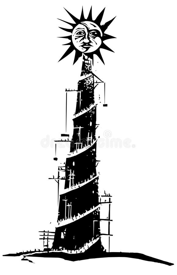 Tower to the Sun. Woodcut style expressionist image on pride with a tower being built to the sun stock illustration