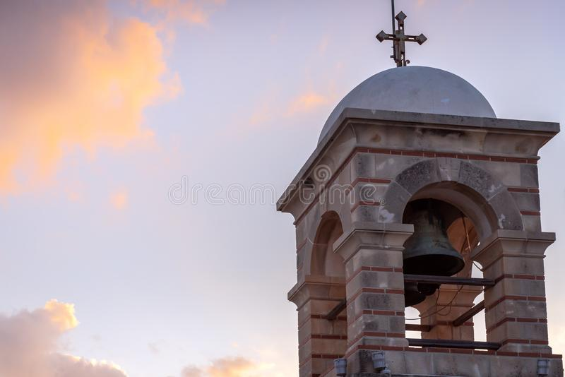 Tower at the top of the Lycabettus hill in Athens,. Greece stock photography