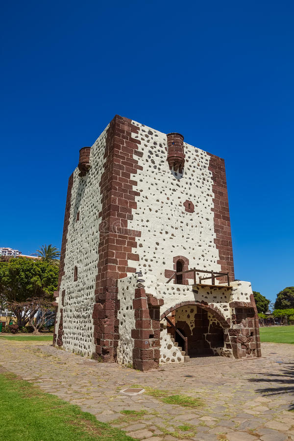 Tower Torre Del Conde. (The Count's Tower) In San Sebastian at La Gomera Island, Canary islands, Spain. The oldest military fort in the Canaries built in 1450 royalty free stock photos