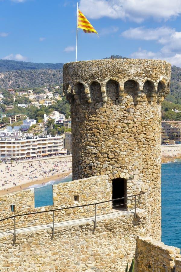 Tower Tossa de Mar, Spain stock photos