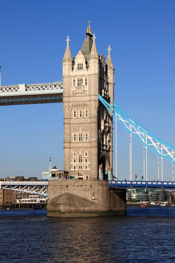 Tower of the Tower Bridge in London stock photo