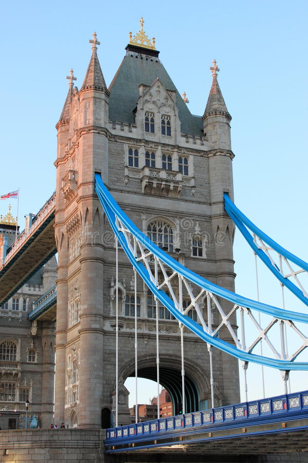 Tower of the Tower Bridge in London stock photos