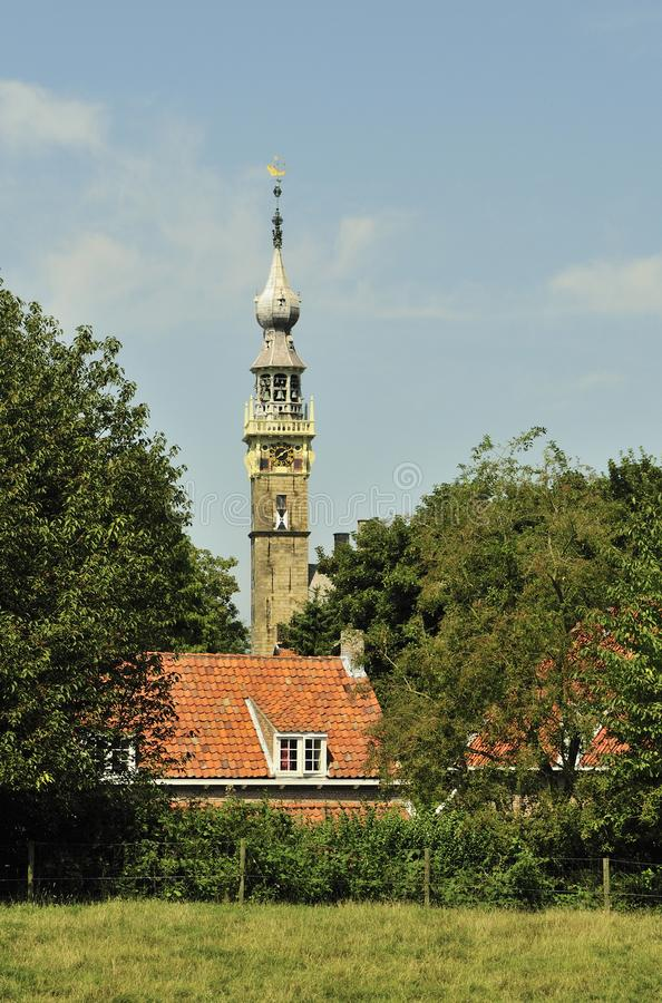 Tower from the town hall from the city of Veere. royalty free stock photos